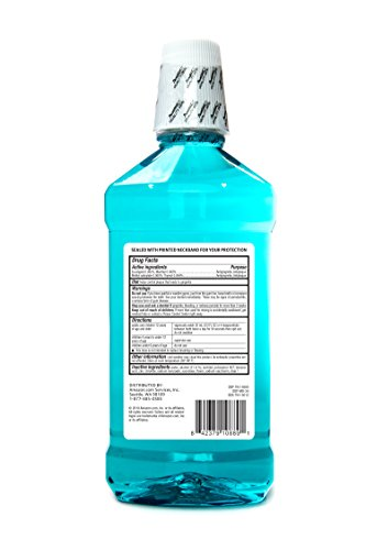 Amazon Brand - Solimo Tartar Control Plus Antiseptic Mouth Rinse, Iceberg Blue Mint, 1 Liter, 33.8 Fluid Ounces, Pack of…