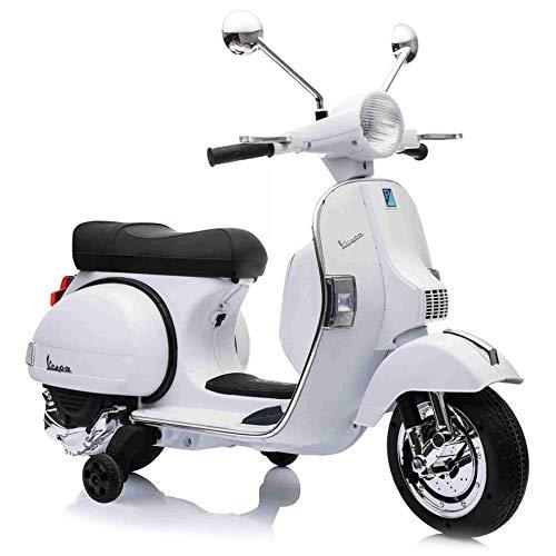 SIP Scootershop - Patinete infantil eléctrico Vespa PX, 12 V, color blanco incluye batería y cargador