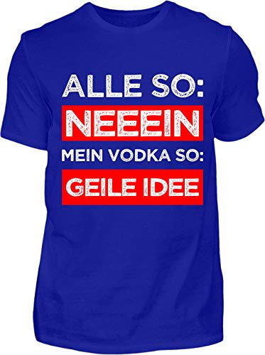 Kreisligahelden T-Shirt Herren Lustig Vodka Geile Idee - Kurzarm Shirt Baumwolle mit Spruch Aufdruck - Karneval Party Junggesellenabschied Fun Saufen Vodka (M, Blau)