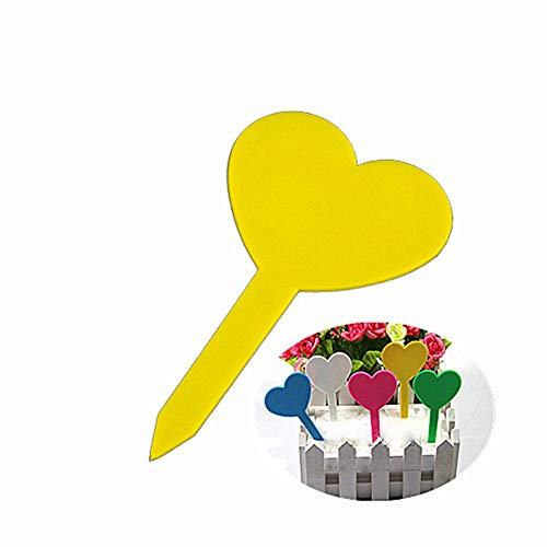 Shulishishop Heart Plant Labels Plant Markers Plant Labels for Seed Re-Usable Plastic Plant Plant Labels for Vegetables Durable Plastic Plant yellow