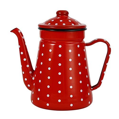 Pevfeciy Emaille Nostalgie Teekanne 1.1L /39 oz Kaffeekanne Kanne Emaille Kaffee Kanne Kitchen Teekessel Kessel, emaillierter Stahl Landhausstil