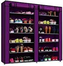 Styleys Multipurpose Portable Folding Shoe Racks for Home Organisers with Waterproof cover-12 Tiers (Purple)