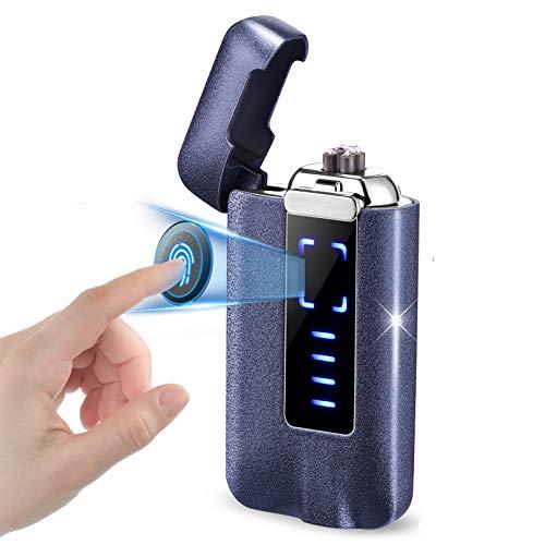 NAOLIU Elektro Feuerzeug,Elektrisches Feuerzeug USB,Winddicht Lichtbogen Feuerzeug Outdoor,Plasma Feuerzeug mit Berühren Bildschirm,Elektronische Feuerzeug mit Batterieanzeige,Geschenk für Männer