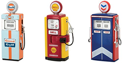 Greenlight 14010 Vintage Gas Pumps Series 1 Complete Set of 3 Gulf Shell and Standard Oil 1:18 Scale Diecast