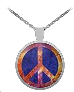 CyberHutt West Peace Sign Symbol Blue Sunset 1 inch Round Pendant 22 inch Necklace Gift