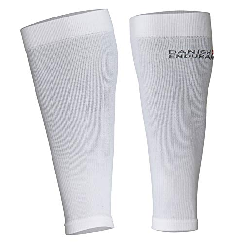 DANISH ENDURANCE Abgestufte Waden-Kompressionsstrümpfe ohne Fuß (Weiß, M)