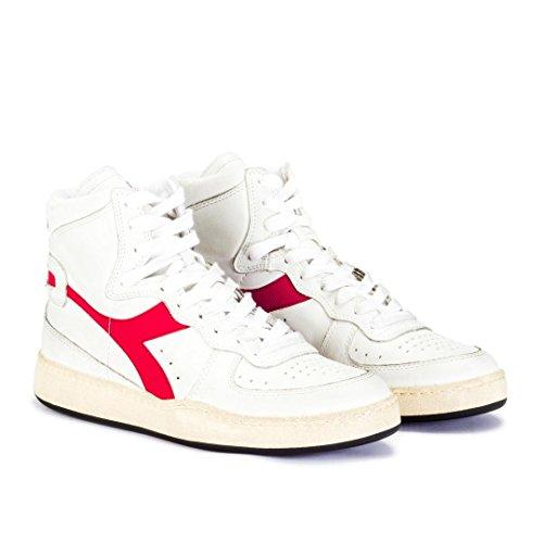 Diadora Heritage, Unisex Adulto, Mi Basket Used Red, Pelle, Sneakers Alte, Bianco, 36 EU