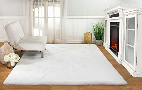 Machine Washable Ultra Soft Faux Fur Area Rugs: White Faux Rabbit Shag Rug for Bedroom, Dining Room, Living Room & More, 6ft x 8ft 2in