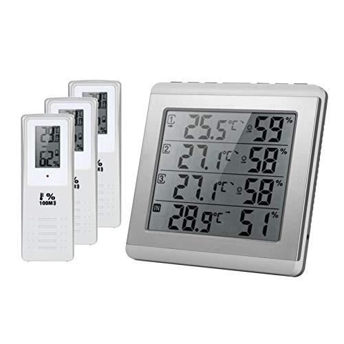 Kecheer Termómetro higrómetro digital con 3 sensor exterior,Medidor temperatura y humedad ambiente interior exterior hogar,Humidímetros Termómetros 3 sonda