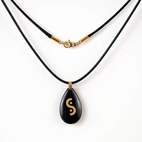 Collar unisex unisex – Colgante de obsidiana natural grabada – Piedra de protección de la suerte – amuleto – 1 cadena de acero inoxidable chapado en oro 18 K L 45 cm + 2 cordones L 45 cm y L 5