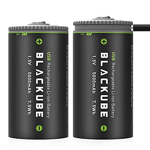Blackube D Cell Batteries 1.5V 5000mAh USB and Type-C Rechargeable D Batteries Long Lasting Lithium Ion with Built-in Safety Protection Chip (2 Pack)