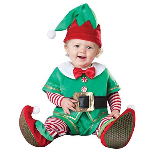 LvRaoo Unisex Baby Strampler Weihnachtself Jungen Mädchen Overalls Cosplay Halloween Weihnachten Kostüm (Grün Elfe, 90)
