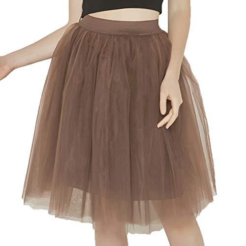 UZN Women's 50s Puffy Tulle Skirts Tutu Stretch Waist Half Slip 5 Layers Retro Party Skirt Brown(2XL/3XL)