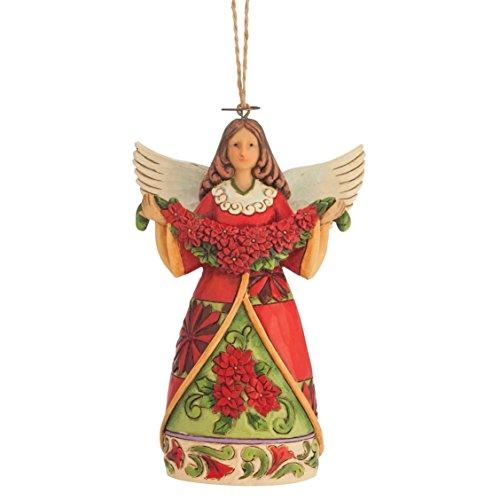 "Jim Shore Heartwood Creek Poinsettia Angel Stone Resin Hanging Ornament, 4.75"""