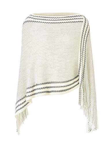 Ferand Legerer Gestreifter Damen Poncho-Schal Strick-Pullover mit Fransen, Weiß, Einheitsgröße (Beste Passform S-L)