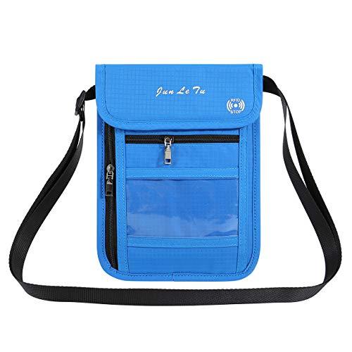 ACBungji Brustbeutel RFID Blocker Schutzhülle Reise Brusttasche wasserdicht umhängetasche Brieftasche Organizer für Kreditkarten Reise-Pass Handy (Blau)