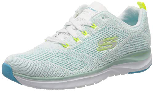 Skechers Ultra Groove, Zapatillas Mujer, Blanco (White & Turquoise Knit Mesh/Lime Trim Wtql), 38 EU