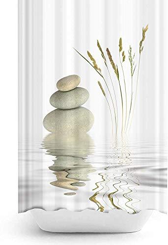 Duschvorhang Zen 120x200 cm Digitaldruck Modern Design Polyester Stoff Wasserdicht Waschbar Schimmel & Mehltau widerstandsfähig mit Haken enthalten