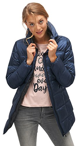 TOM TAILOR Damen Basic Puffer Coat Mantel, Blau (Real Navy Blue 6593), Small