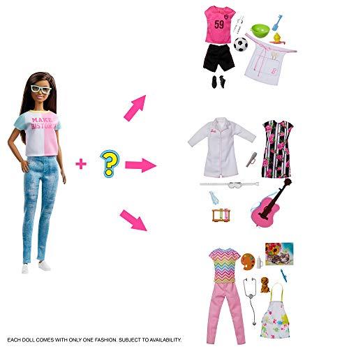 Barbie GFX86 Karriere Überraschungs Berufe Puppe mit 2 Überraschungsoutfits und 8 Überraschungen, Puppen Spielzeug ab 3 Jahren