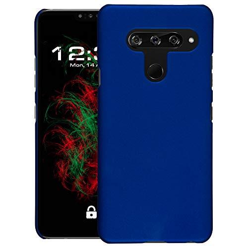 Baluum Hardcase gummierte Blaue Hülle kompatibel mit LG V40 ThinQ Schutzhülle Hülle Cover Handyhülle Hartschale aus robusten Kunststoff
