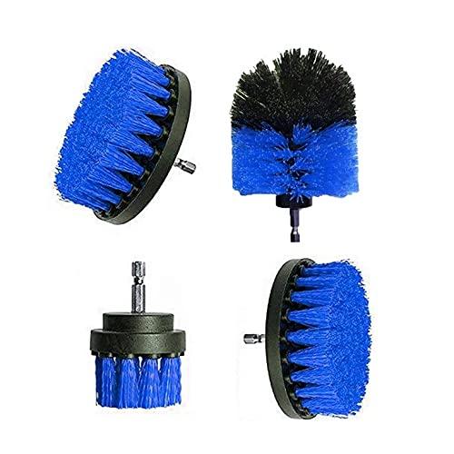 QiKun-Home 4 unids taladro eléctrico cepillo de plástico redondo cepillo de limpieza para la alfombra de vidrio neumáticos de coche nylon cepillos Power Scrubber taladro azul