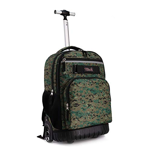 Tilami Rolling Backpack 18 inch Wheeled Laptop Backpack School College Student Travel Trip Boys and Girls, camouflage