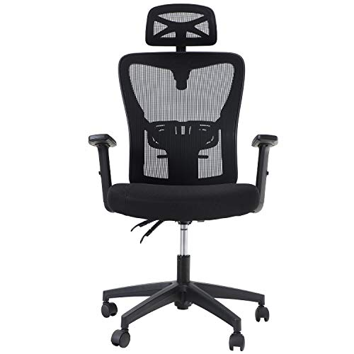 Sophia & William Ergonomic Mesh Office Desk Chair High Back, Modern 360° Swivel Executive Computer Chair with Height Adjustable Armrests, Lumbar Support and Headrest, Black, Load Capacity: 300 lbs