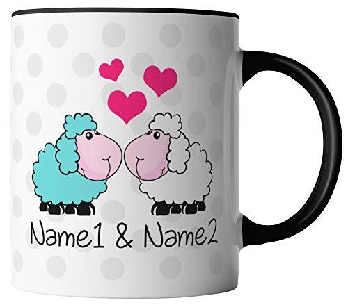 vanVerden Tasse - Schafe Ich liebe dich Herzen - Wunschnamen anpassbar personalisiert - beidseitig Bedruckt - Geschenk Idee, Tassenfarbe:Weiß/Schwarz