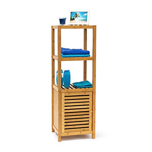 Preisvergleich Produktbild Relaxdays Badregal Bambus mit 4 Ablageflächen HxBxT 110x36, 5x33 cm praktisches Holzregal mit mehreren Ebenen und Schrankteil mit magnetischem Verschluss mit Stauraum für Bad und Wohnzimmer