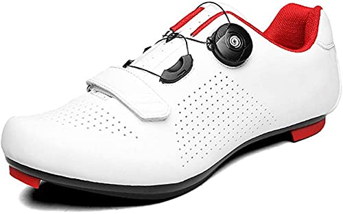 KUXUAN Women's 2021 Road Bike Shoes Indoor Cycling Exercise Shoes Compatible with SPD/SPD-SL for Women Cycling Shoes MTB Outdoor Mountain Bike Shoes,White-6.5UK=(250mm)=40EU