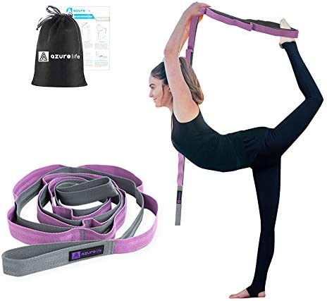 A AZURELIFE Premium Non Elastic Stretch Strap 1 5 W x 96 L 12 Loops Yoga Strap for Stretching product image