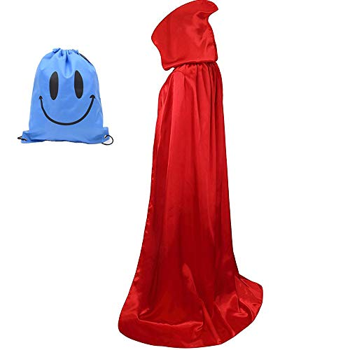 Myir Largo Capa con Capucha, Unisex Adulto Niños Disfraz de Halloween Fiesta Disfraces Vampiro Traje (XXL, Rojo)