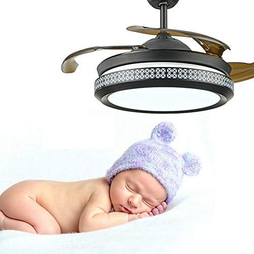 Ventilador de techo LED de 100 cm con iluminación y mando a distancia, moderno ventilador de techo con luz regulable, 3 colores, 3 velocidades, cuchillas retráctiles, para salón, dormitorio