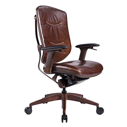 Silla ergonómica, silla de escritorio de cuero de PU con silla de escritorio de la computadora moderna, silla de oficina de la parte alta de la espalda con soporte lumbar para la oficina ejecutiva o e