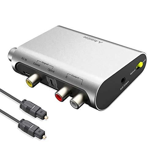 Avantree DAC02 DAC Convertidor Audio Digital Analógico, Conversor Optico a RCA con Toslink Cavo, Control Volumen, 192 KHz, TV SPDIF Entrada Audio Óptico Coaxial, Salida Auricular Altavoz 3.5mm AUX