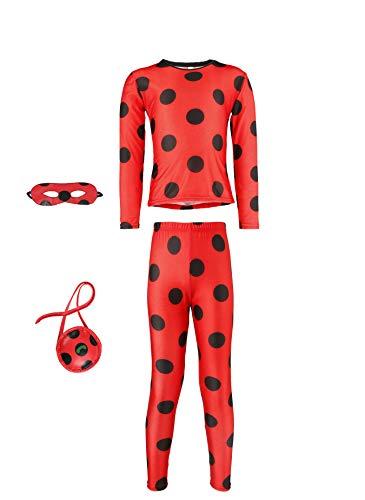 Disfraz de mariquita Ladybug 146 152, disfraz de Halloween o carnaval, juego de 4, camiseta, pantalón, antifaz con bolsillo 150