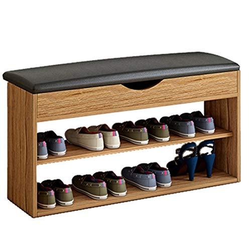 WHOJA Schuhständer Klappbarer gepolsterter Sitz 40/60 / 80x30x40cm Schuhfach mit 2 Einlegeböden 3 Farben optional...