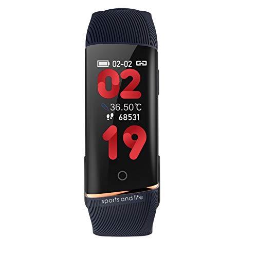 LYB Genuino/Original Karuno Smart Watches E98S Presión Arterial Monitor De Ritmo Cardíaco Pulsera Inteligente Android iOS Aptitud Pulsera Reloj (Color : Blue)