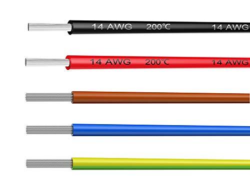 NorthPada 14 AWG 1,5mm² Fili Elettrici Fili per Kit Filo Elettrico Fili in Silicone Cavo Filo in Rame Stagnato 5 Colori 600V 20A 5 x 3 Metro