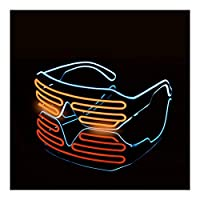 Kloxi LEDルミナスメガネハロウィーン光るネオンクリスマスパーティーブリル点滅ライトグローサングラスグラス祭用品コスチューム (Color : B)