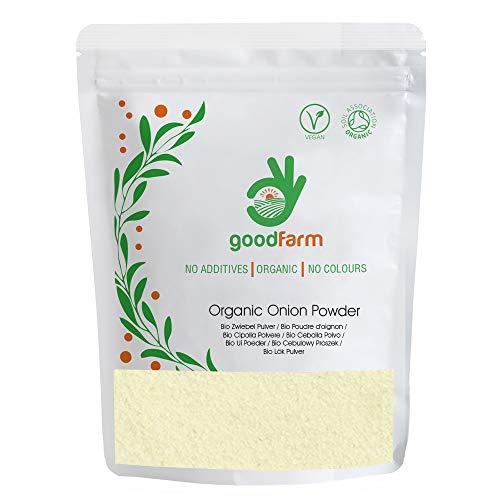 GoodFarm Bio Zwiebel Pulver 500g - Premium Qualität, Certified Organic | Überlegenes Aroma & Geschmack | Tolle Ergänzung zu Essenszubereitungen (Backwaren, Brot, Eintöpfe)