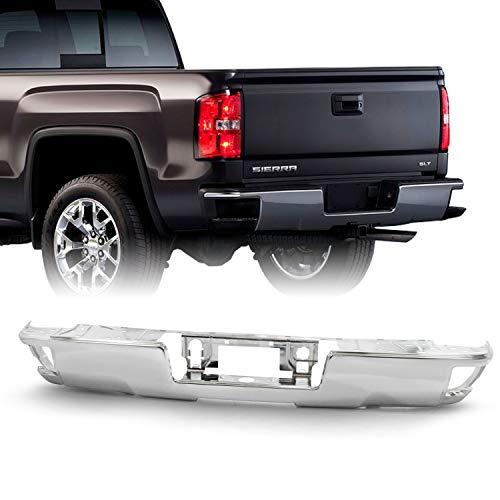 Fits 2015-2018 Chevy Silverado/GMC Sierra 1500 2500HD 3500HD Chrome Rear Step Bumper w/o Sensor Hole w/Conner Step Hole