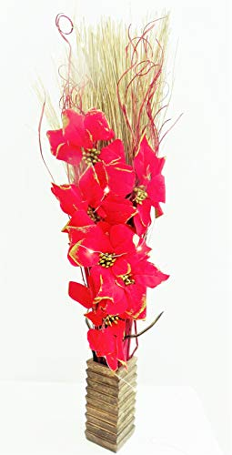 Link Products Light-Up Red Poinsettia Christmas Floral Arrangement. Artificial Silk Flowers and Indian Dried Grasses. FREE Wood Vase. 20 LED Lights No batteries included. Height: 95-100cm (3 Foot).