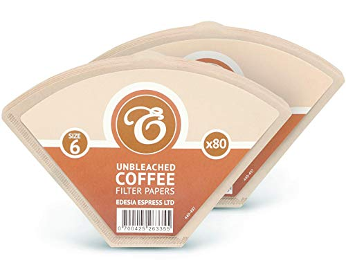 160 Size 6 Brown Coffee Filter Paper Cones by EDESIA ESPRESS
