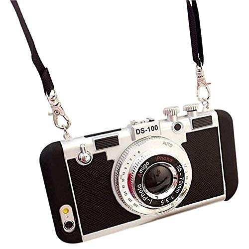New Emily in Paris Phone Case Vintage Camera, Modern 3D Vintage Style Camera Design Silicone Cover with Long Strap Rope for iPhone 11 PRO MAX/X/XS/MAX/7/8plus Black XR