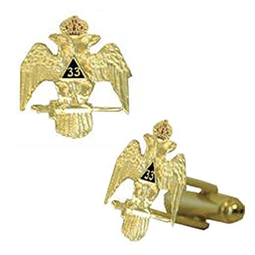 Scottish Rite 33rd Degree Wings Down Masonic Cuff Links. Gold Tone w/Color Enamel Freemasons Symbol. Masonic Regalia Merchandise for The Lodge (33rd Degree Wings Down)