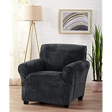 Great Bay Home Modern Velvet Plush Strapless Slipcover. Form Fit Stretch, Stylish Furniture Cover/Protector. Gale Collection Brand. (Chair, Dark Grey)