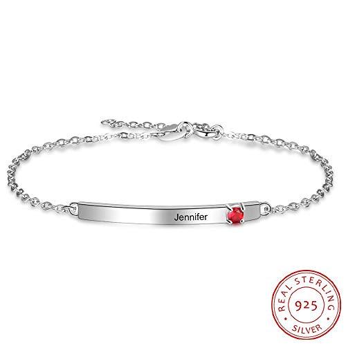 GYXYZB Gepersonaliseerde armbanden van 925 sterling zilver met naam-armband, personaliseerbare hanger, cadeau voor beste vrienden