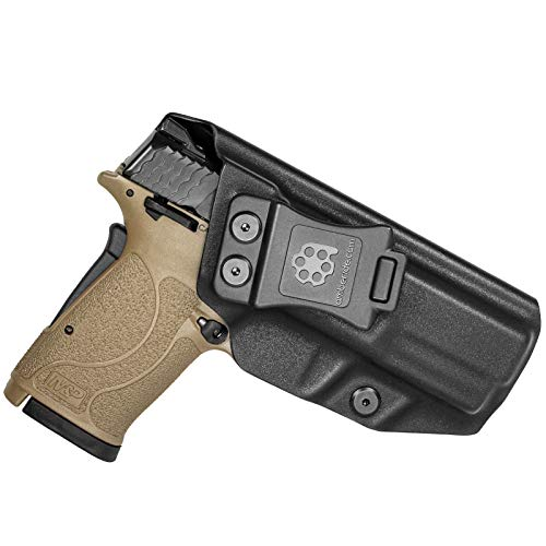 Amberide IWB KYDEX Holster Fit: Smith & Wesson M&P 9mm Shield EZ Pistol | Inside Waistband | Adjustable Cant | US KYDEX Made (Black, Right Hand Draw (IWB))